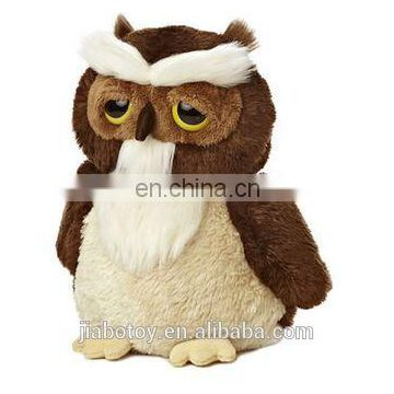 Owl mascot beanie boos collection stuffed big eyes embroidert fabric woven doll toy 6 inches custom design logo