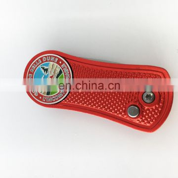 Red color folding pitch repair tool with custom ball marker