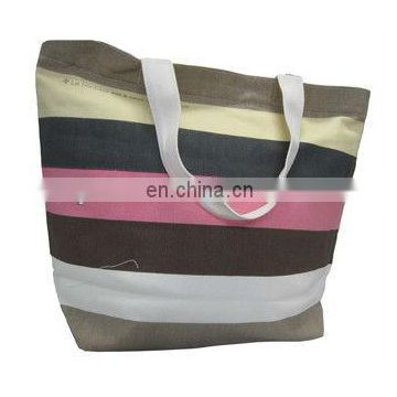 New style stripe canvas shopping bag