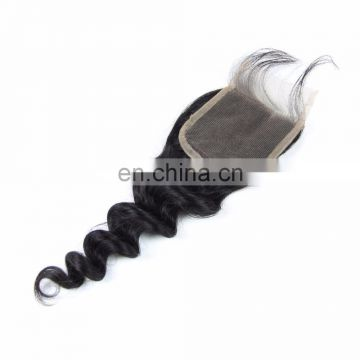 FAST SHIPPING 100% brazilian human vrgin 9A grade hair free part lace closure in loose wave CUTICLE ALIGNED hair
