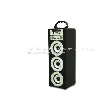 wooden portable bluetooth speaker with karaoke and FM function