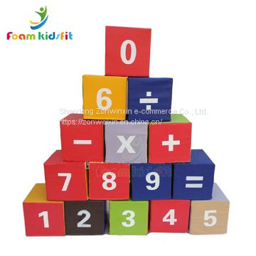 Funny colorful  kids soft play digital building blocks educational toys