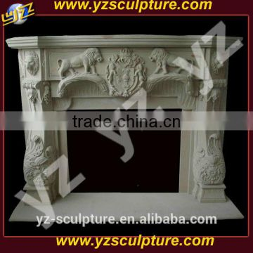 white marble freestanding fireplace mantle for home decoration