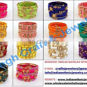 Buy Wholesale Indian Thread Bangles-Beautiful Party wear thread and stone work bangle set-Indian handmade thread bangles