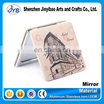 wholesale cheap price pu leather compact pocket mirror