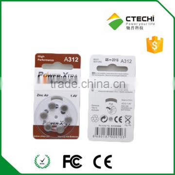 a312 zinc air battery pr41 1.4v hearing aid battery A10 A675 A13