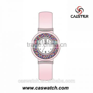 2016 New arrival plum purple lady watch, unique attractive watch case with rainbow color beads, bright leather band lady watch