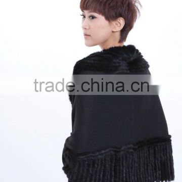 Cashmere knitted rabbit fur shawl