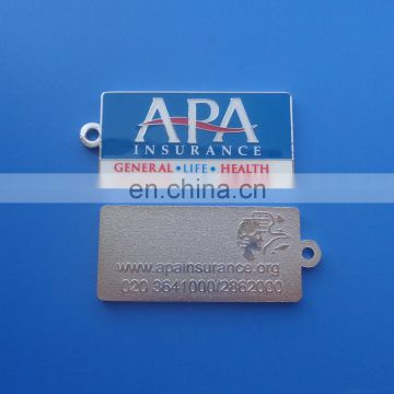 Customized double-sided enameled and embossed logo with epoxy metal keychain
