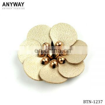 Gold Leather Design Button with Beads for Coat