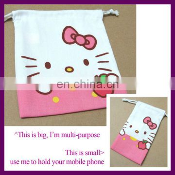 hello kitty design drawstring 100% cotton shopping bag