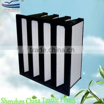 V-bank HEPA air filter for HVAC systems