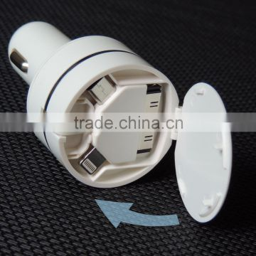 Factory Wholesale Portable Retractable usb Car Charger with Cable for iPhone 5 4, iPad, mobile phone                                                                                                         Supplier's Choice