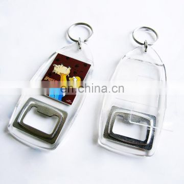 Factory free sample custom printed clear acrylic keychains with bottle  opener