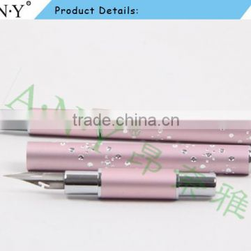 ANY Nail Art Design Pink Metal Handle Nail Ink Paint Brush Pen with Dotting Tools