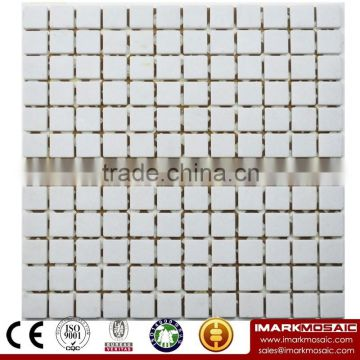 IMARK Honed Teak Wood Marble Stone Mosaic Tile Backsplash Tile for Wall Decoration Code IVM7-028