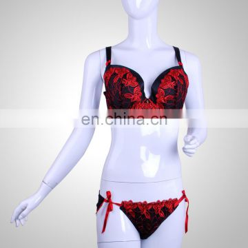 2015 Classical Full Cup Sexy Mature Women Red Lace Slip Embroidered Bra