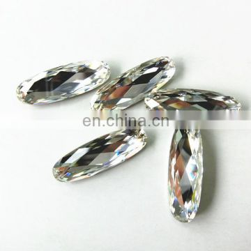 Transparent clear long oval crystal beads for wedding dress