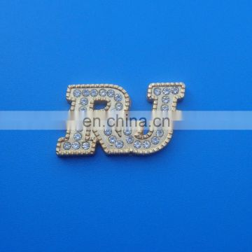 Matte gold tone rhinestone design alphabet R and J logo metal pendant for necklace