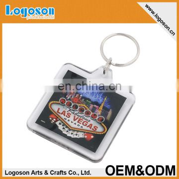 Promotion Custom Souvenir Blank Plastic Photo Insert Keychain