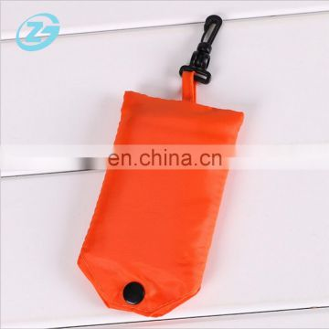 Foldable Nylon Polyester Grocery Shipping Carry Bag with Plastic Hook