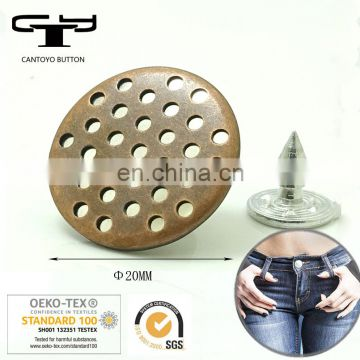 Bulk flat metal jeans button supplier in China Factory