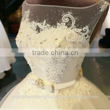 vestidos de noiva robe de mariage Beading Bridal Gown Custom made Lace Ball Gown Wedding dress CWF2324