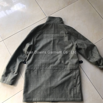 Wholesale custom European high quality tweed wool waterproof jacket hunting shooting clothing