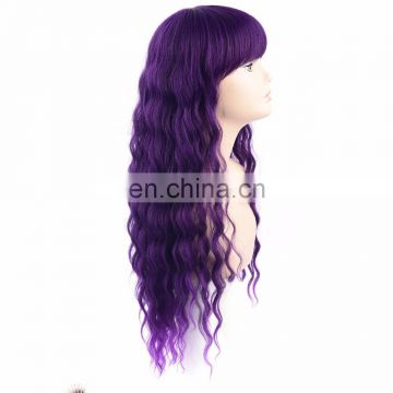 fashion purple color in stock part handmade lace synthetic wig