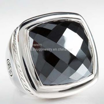 Sterling Silver Jewelry 20mm Hematite Albion Ring(R-201)