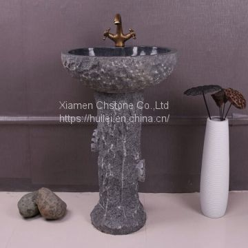 G654 Granite Pedestal Sinks,Grey Granite Wash Basins, Nature Stone Bathroom Sinks
