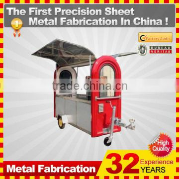 customized made stainless steel motorcycle food cart for sale