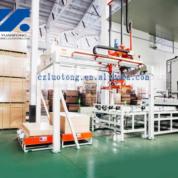 Automatic melamine line for furniture boards