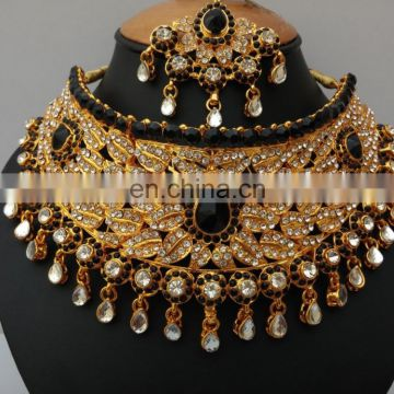 INDIAN LATEST BOLLYWOOD WHOLESALE ROYAL INSPIRED KUNDAN BEADED STONE BRIDAL ARTIFICIAL JEWELLERY/JEWELRY NECKLACE SET EARRINGS