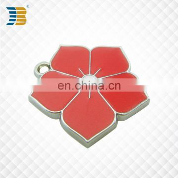 flower shaped high quality cheap custom enamel charm