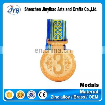 custom made round shaped enamel race metal medal with gold painting