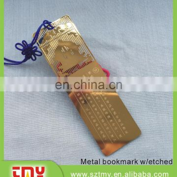 Customized metal bookmark etched bookmark