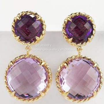 Women DY Sterling Silver Gold  Mini Amethyst Chatelaine Earrings