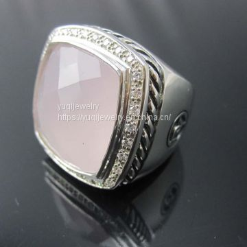Sterling Silver Jewelry 20mm Albion Ring with Rose Quartz(R-207)