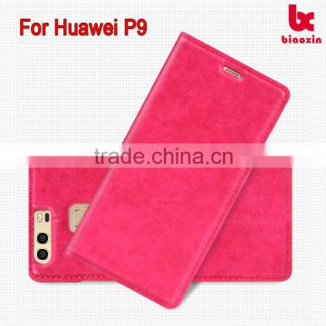 For Huawei P9 Leather case card holder Alibaba PU blank shimmer sewing leather case new model mobile accessories