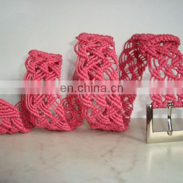 Macrame Belt woven of hot pink strong cotton waxed cord