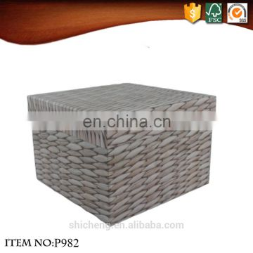 Square chinese style woven paper packaging gift box with lid