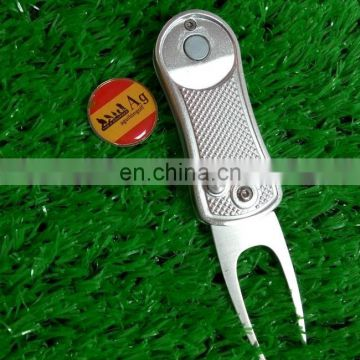 2017 in stock automatic golf divot tool & switch blade blank golf pitch fork