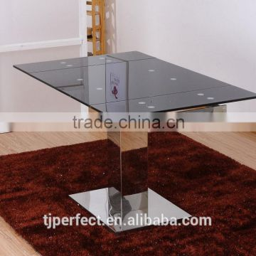 Pratical modern extension black tempered Glass dining table and stainless leg big size for dining room PDT14921
