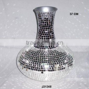 Glass mosaic in two colours on Iron vase other colours available