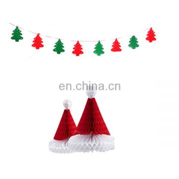 Christmas hanging decoration kit santa tree banner and santa hats honeycomb