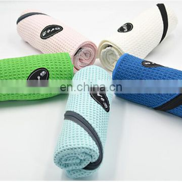 Wholesale super soft custom microfibre waffle sport towel with pocket