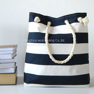 large stripe printed tote beach bags with rope handle