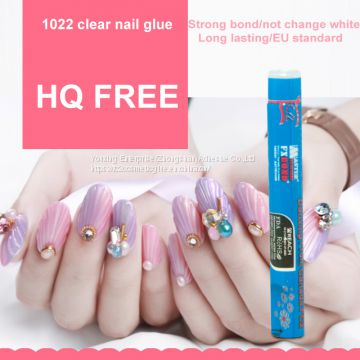 1.5g HQ free(below 200PPM) clear Nail glue nail art for stick fake nail