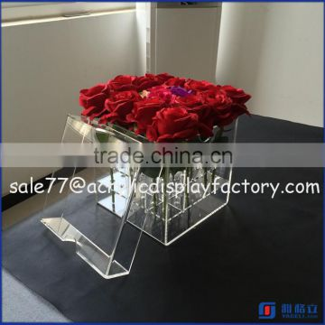 square acrylic box for flower packing, newest design cube box, custom made clear acrylic                                                                         Quality Choice